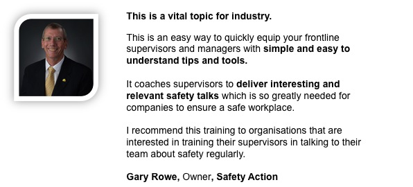 Gary Rowe, Owner, Safety action